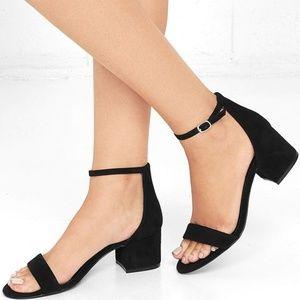 Steve Madden Irenne Black Suede Ankle Strap Heels